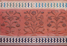Detail decorative of the Jawab. Taj Mahal. Detail decorative of the Jawab. Patterns in red sand stone with inlaid marble. Taj Mahal. Agra. India Royalty Free Stock Image