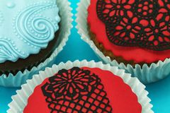 Detail of delicious handmade cupcakes Royalty Free Stock Images