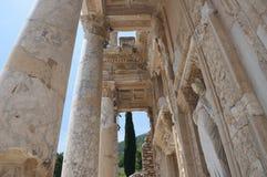 Detail der Bibliothek von Celsus, alte Stadt Ephesus, Selcuk, T Lizenzfreie Stockfotografie