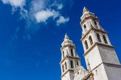 Detail der Campeche-Kathedrale, Mexiko stockbild