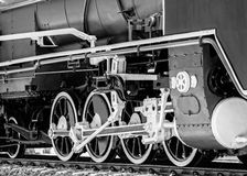 Detail der Dampf-Lokomotive, B&W Stockbilder