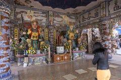 Detail der Drachepagode in Vietnam Stockbild