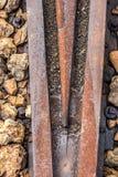 Detail der Eisenbahn, rostig und schäbig Lizenzfreies Stockfoto