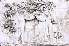 Detail der Fassade des Duomo von Orvieto, Italien Marmor-bas- Lizenzfreie Stockbilder