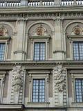 Detail der Fassade des schwedischen königlichen Schlosses Stockbilder