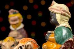 Detail der Figürchens Königs Balthazar Geburt Christiszene Weihnachtstraditionen lizenzfreies stockbild