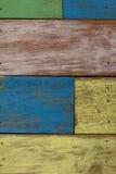 Detail der Holzwand der abstrakten Kunst Farb Stockfoto