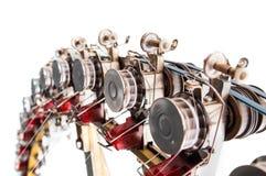 Detail der industriellen Strickmaschine, Baumwollgarn produzierend stockbilder