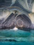 Detail der Marmorkathedrale in See General Carrera mit blauem Wasser, Patagonia von Chile Carretera Austral lizenzfreie stockbilder