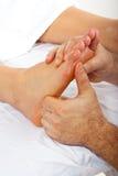 Detail der reflexology Massage stockfotos