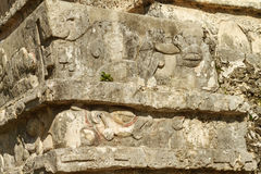 Detail der Ruinen an der Mayafestung und am Tempel, Tulum Stockbild
