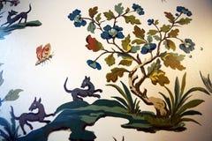 Detail der silk Tapete im roten Raum in Goethe& x27; s-birthho Lizenzfreies Stockbild