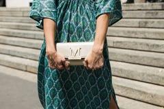 Detail der Tasche Milan Men-` s an der Mode-Woche Lizenzfreie Stockbilder