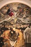 Detail der typischen Metallplatte mit der Nachahmung von El Greco-Farbe - die Beerdigung der Zählung Orgas Toledo, Spanien lizenzfreies stockfoto