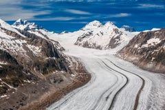 Detail des Aletsch-Gletschers, Jungraujoch hinten Stockfoto
