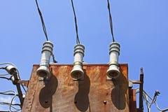 Detail des alten elektrischen Transformators Stockfoto