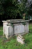 Detail des alten Grabsteins Stockbild