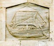 Detail des alten Leuchtturmes nannte Farul Genovez (Genovese Leuchtturm) Lizenzfreie Stockfotos