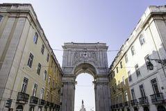 Detail des Bogens in der Piazza tun comercio lizenzfreie stockfotos