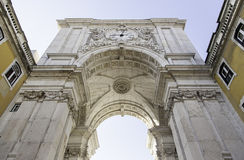 Detail des Bogens in der Piazza tun comercio stockfoto
