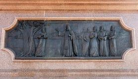 Detail des Bronzemonuments zum Gründer von Samara - Prinz Grig stockbild