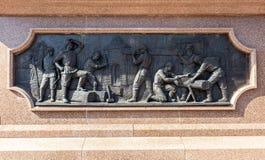 Detail des Bronzemonuments zum Gründer von Samara - Prinz Grig stockfotografie