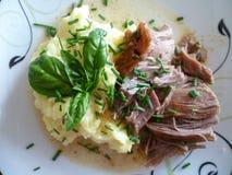 Detail des gebratenen Truthahnfleisches mit Kartoffelpürees und Gurkensalat Lizenzfreie Stockbilder