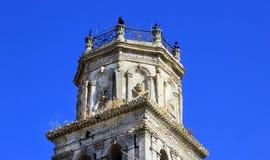 Detail des Glockenturms von Kirche St. Nikolaos in Kiliomeno Lizenzfreies Stockbild