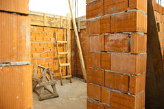 Detail des Hauses im Bau Stockfotografie