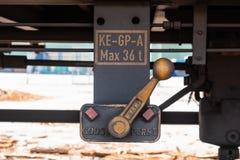 Detail des Hebels vom Güterwagen stockfotografie