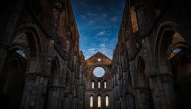 Detail des Innenraums von Abtei Sans Galgano, Toskana Stockbild