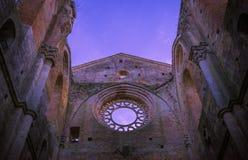 Detail des Innenraums von Abtei Sans Galgano, Toskana Lizenzfreies Stockbild