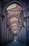 Detail des Innenraums von Abtei Sans Galgano, Toskana Stockbilder