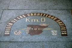 Detail des Kilometer-nullpunktes in Madrid Stockbilder