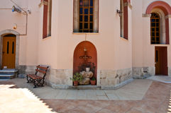 Detail des Klosters von Panagia Kalyviani 25,2014 im Juli auf der Kreta-Insel, Griechenland Das Kloster O Lizenzfreie Stockbilder