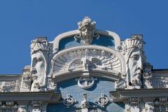 Detail des Kunst Nouveau Gebäudes stockbilder