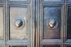 Detail des Portals der Aachen-Kathedrale Stockbilder