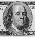 Detail des Portraits auf hundert Dollarschein Lizenzfreie Stockfotos