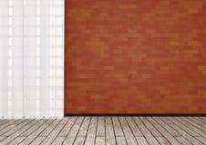 Detail des Raumes mit Wand des roten Backsteins Stockbilder