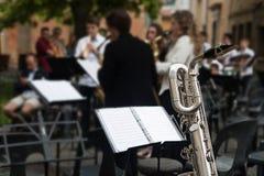 Detail des Saxophons an einem Konzert Stockbild