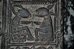 Detail des Steins schnitzend im armenischen Kloster von Sevanavank Stockfotos