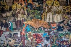 Detail des Wandgemäldes die Geschichte von Mexiko durch Diego Rivera am nationalen Palast - Mexiko City, Mexiko Lizenzfreie Stockbilder