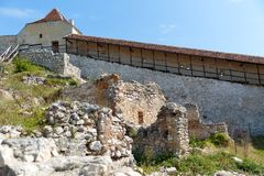 Detail of destroyed ruined walls of medieval Rasnov citadel in R Royalty Free Stock Images