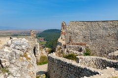 Detail of destroyed ruined walls of medieval Rasnov citadel in R Stock Photos