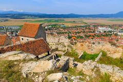 Detail of destroyed ruined walls of medieval Rasnov citadel in R Stock Photography