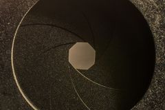 Detail of a diaphragm of a photographic lens. Close up of a diaphragm of a photographic lens Stock Photography