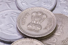 Detail of different India Rupees coins Royalty Free Stock Photo