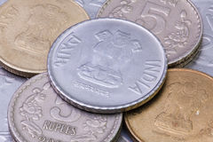 Detail of different India Rupees coins Stock Image