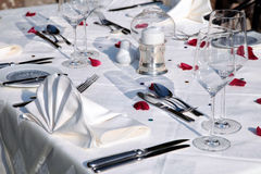 Detail of dining table with elegant table setting Stock Image