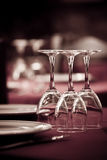 Detail of dining table ready for customers Royalty Free Stock Photography
